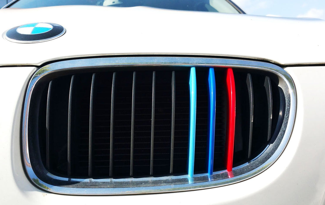 Exact Fit ///M-Colored Grille Insert Trims For 2009-2012 BMW E90 E91 LCI 3 Series 325i 328i 330i 335i Front Center Kidney Grilles (12 Beams)-iJDMTOY