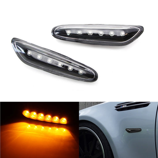 Euro Amber Full LED Front Side Marker Light Kit For BMW 1 3 5 Series, etc, Replace OEM Amber/Clear Sidemarker Lamps-iJDMTOY