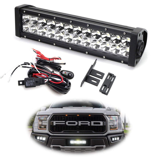 Behind Grille LED Light Bar Kit For 2017-up Ford Raptor, Includes (1) High Power Double Row LED Lightbar, Inside Grill Mesh Mounting Brackets & Relay Wire Switch-iJDMTOY