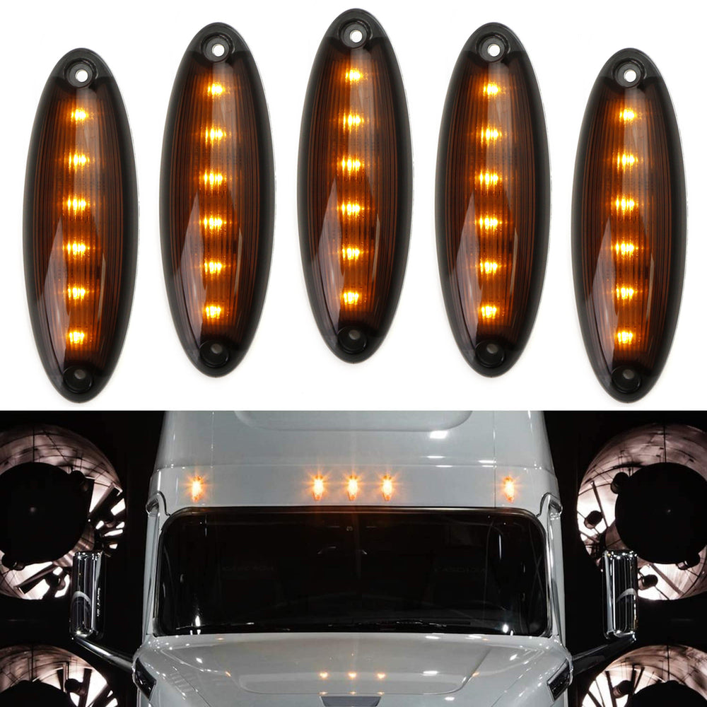 Partsam 5pcs Clear Lens Amber Yellow 6LED Cab Top Roof Running Marker Lights Assembly Compatible with Freightliner//Cascadia Waterproof