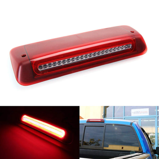 Red or Smoked Lens High Mount LED 3rd Brake Light Kit For 2004-08 Ford F-150, 2007-10 Explorer Sport Trac & 2006-08 Lincoln Mark LT, w/ Red Halo LED Stop & White LED Clearance Light-iJDMTOY