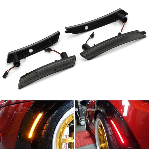 Smoked Lens Amber/Red Full LED Side Marker Light Kit For 2007-2013/14 MINI Cooper R55 R56 R57 R58 R59 R60 R61, Powered by Total 160-SMD LED, Replace OEM Sidemarker Lamps-iJDMTOY