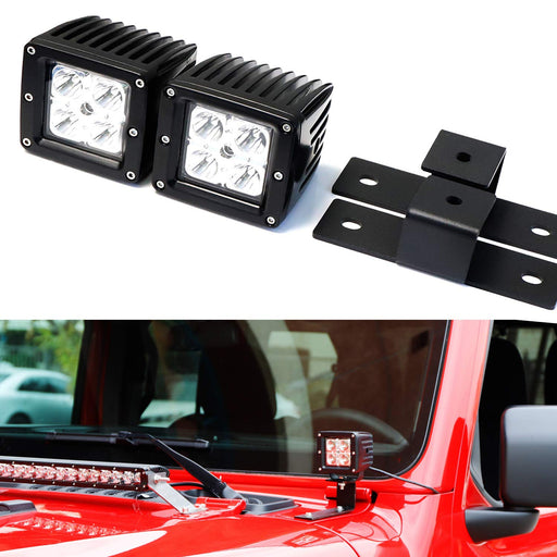 A-Pillar LED Pod Light Kit For 2018-up Jeep Wrangler JL, Includes (2) 20W High Power CREE LED Cubes, Windshield A-Pillar Mounting Brackets & On/Off Switch Wiring Kit-iJDMTOY