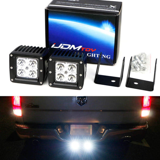 Tow Hitch LED Pod Lamp Kit For 2003-up Dodge RAM 1500 2500 3500, Includes (2) 20W High Power CREE LED Pod Lights, Tow Hitch Mount Brackets & Relay Harness As Reverse, Off-Road or Search Light-iJDMTOY