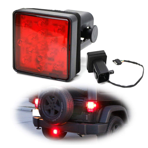 Red or Smoked Lens LED Tail/Brake Light For Truck SUV Trailer Class 3/4/5 2-Inch Towing Hitch Receiver, Powered By 15 Super Bright Red LED Bulbs-iJDMTOY