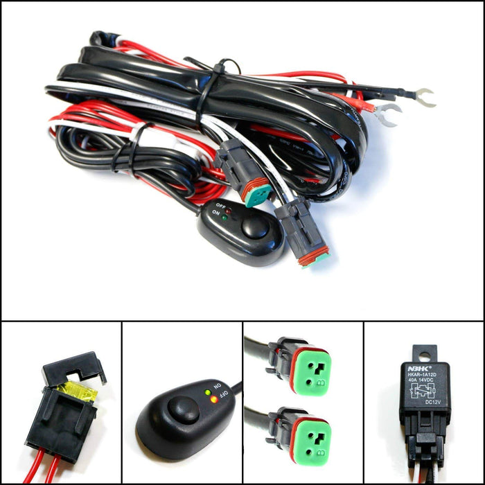 deutsch dt dtp connectors relay harness wire kit with led light on off switch for off road led pods, led worklamps, led light bars, fog driving lights Wombat Kit Car