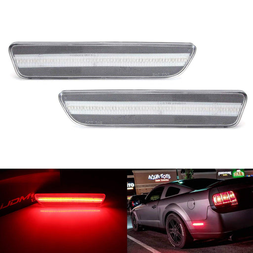 Red Full LED Rear Side Marker Light Kit For 2005-09 Ford Mustang, Powered by 54-SMD LED, Replace OEM Back Sidemarker Lamps-iJDMTOY