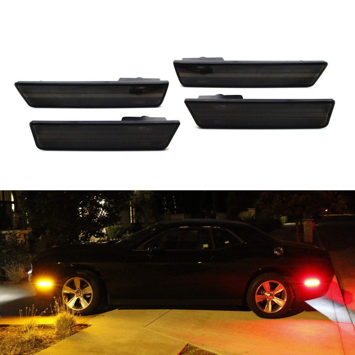 (4) Smoked Lens LED Side Marker Lights For 2008-2014 Dodge Challenger, Includes (2) Front Amber LED & (2) Rear Red LED-iJDMTOY