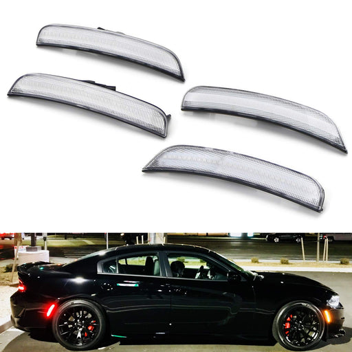 Amber/Red Full LED Side Marker Light Kit For 2015-up Chrysler 300, Powered by Total 180-SMD LED, Replace OEM Sidemarker Lamps-iJDMTOY