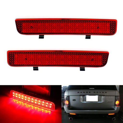 Red Lens 24-SMD LED Bumper Reflector Lights For 03-12 Land Rover Range Rover, 08-15 Freelander 2 LR2, Function as Tail, Brake & Rear Fog Lamps-iJDMTOY