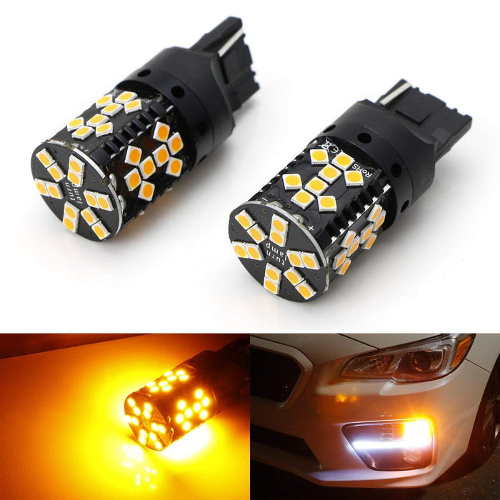 2 No Hyper Flash 25W High Power Amber 1156 CAN-bus LED Replacement Bulbs Compatible With Car Front or Rear Turn Signal Lights iJDMTOY No Load Resistor Required