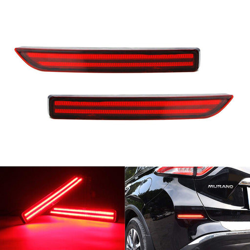 JDM Fluid Style Red Lens LED Bumper Reflector Lamps For 15-up Nissan Murano, Function as Tail, Brake & Rear Fog Lights-iJDMTOY