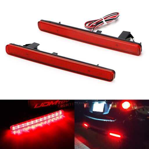 Red or Smoked Lens 48-SMD LED Bumper Reflector Lights For 09-14 Acura TSX (Euro Accord) Function as Tail, Brake & Rear Fog Lamps-iJDMTOY