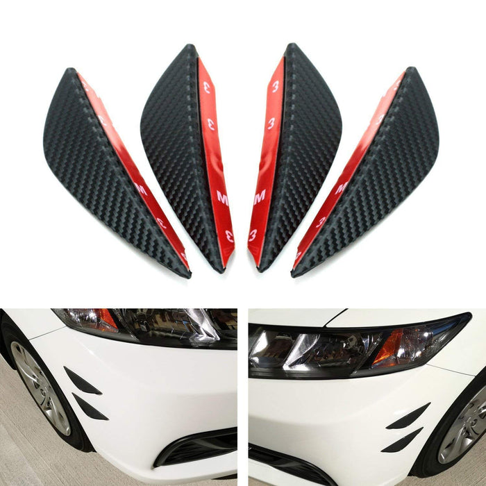 "4pcs Black Matte or Gloss Finish ""Carbon Fiber"" Patten Front Bumper Canard, Body Diffuser Fins, Universal Fit For Any Car-iJDMTOY"