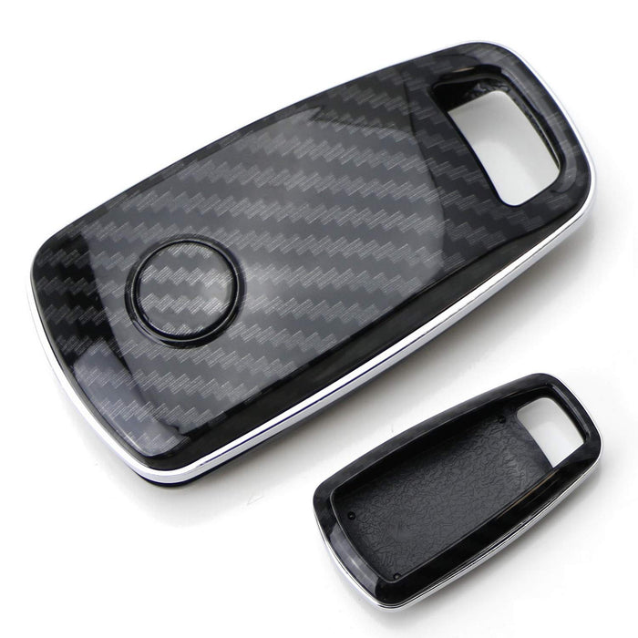 "Exact Fit Black Glossy ""Carbon Fiber"" Pattern Key Fob Shell For 2017-up Audi A4 A5 Q7, 2016-up Audi TT 3-Button Smart Key-iJDMTOY"