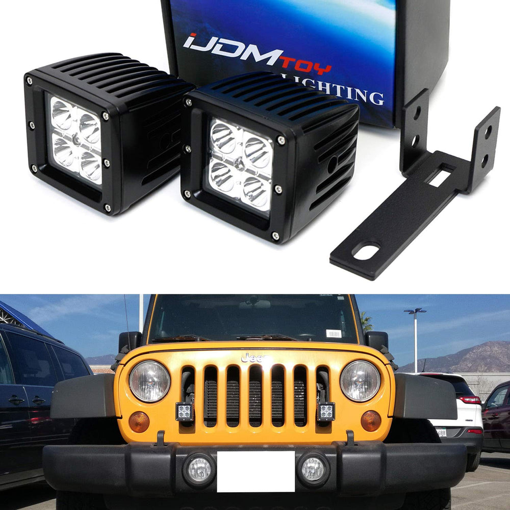 Front Grille LED Pod Light Fog Lamp Kit For 2007-17 Jeep Wrangler JK, Includes (2) 20W High Power CREE LED Cubes, Front Grill Mounting Brackets & On/Off Switch Wiring Kit-iJDMTOY