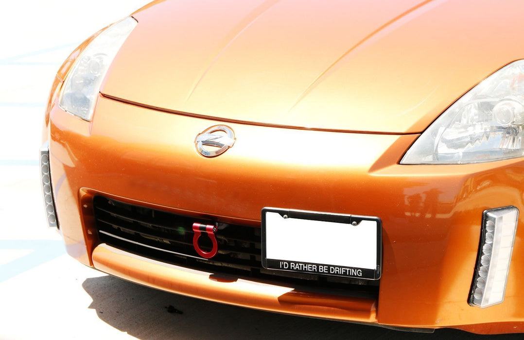 Red Track Racing Style Tow Hook Ring For 2003-2004 Nissan 350Z Z33 Fairlady Z, Made of Lightweight Aluminum-iJDMTOY