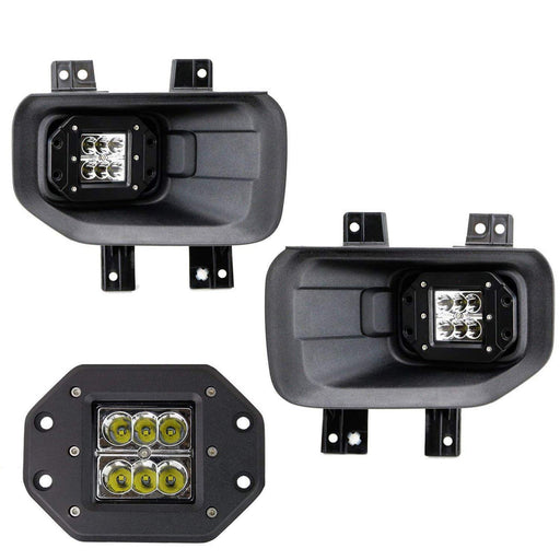 LED Fog/Lamp Driving Kit For 15-up Ford F-150 & 17-up Ford F-250 F-350, Includes (2) 12W High Power CREE Xenon White LED Pod Lights & Set of Mounting Brackets-iJDMTOY
