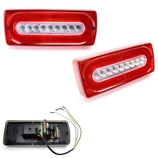 Red or Smoked Lens Laser Style Full LED Turn Signal Light Tail Lamps For 1999-18 Mercedes W463 G-Class G500 G550 G55 G63 AMG (2019 G Design)-iJDMTOY