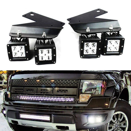 LED Pod Light Fog Lamp Kit For 2010-14 Ford SVT Raptor, Includes (4) 20W High Power CREE LED Cubes, Foglight Location Mounting Brackets & On/Off Switch Wiring Kit-iJDMTOY