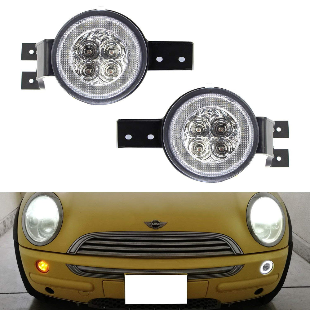 Clear Lens White LED DRL Parking Light/Turn Signal Assy For 02-06 MINI Cooper R50 R53 Hatchback & 05-08 R52 Convertible, OEM Fit White Daytime Running Lights & Amber Turn Signal Lamps-iJDMTOY