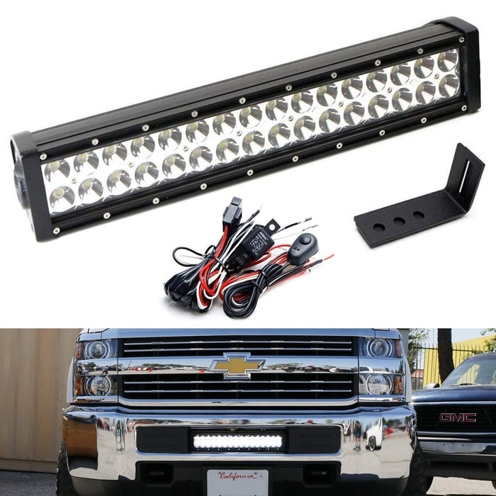 Lower Grille Mount LED Light Bar Kit For 2015-up Chevy Silverado 2500 3500  HD, (1) 96W LED Lightbar, Bumper Opening Mounting Brackets & Wiring