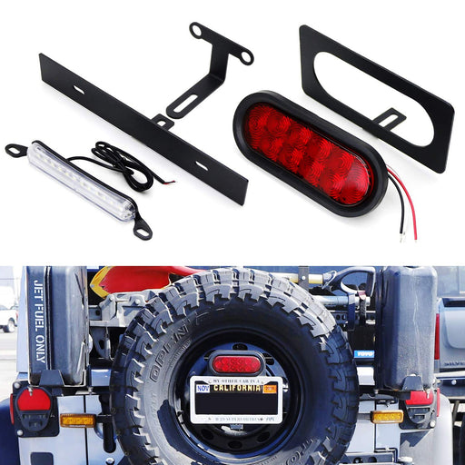 Rear Spare Tire Mount License Plate/Third Brake Relocation Kit w/ Number Plate LED Illumination & Tail/Brake LED Lamp For 2007-2017 Jeep Wrangler JK-iJDMTOY