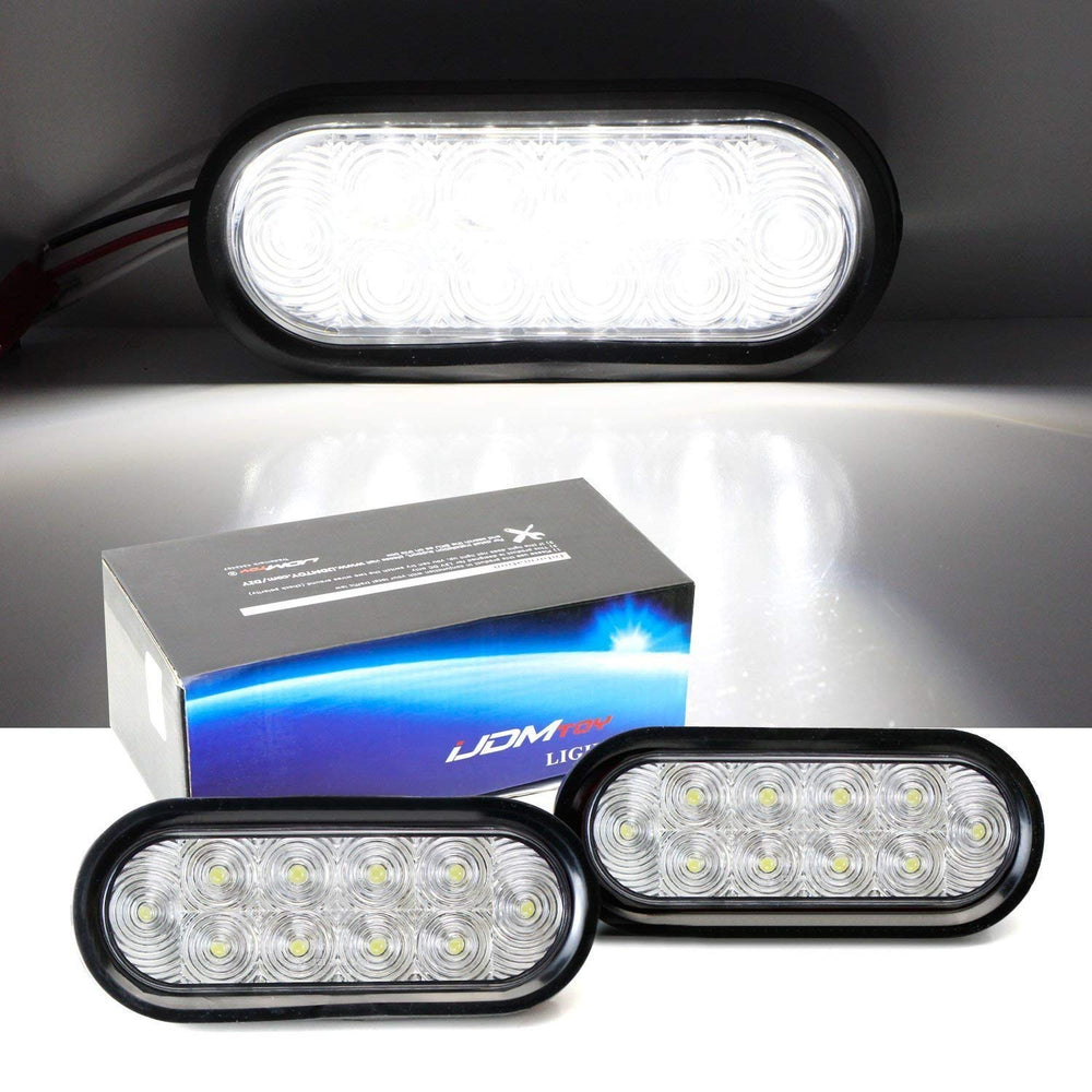 "Clear or Red Lens White or Red LED Reverse Fog Lights Kit Universal Fit For Truck Trailer RV etc., (2) 6.5"" Surface Mount Oval Shape Xenon White Lamps w/ Grommets & Pigtail Plugs-iJDMTOY"