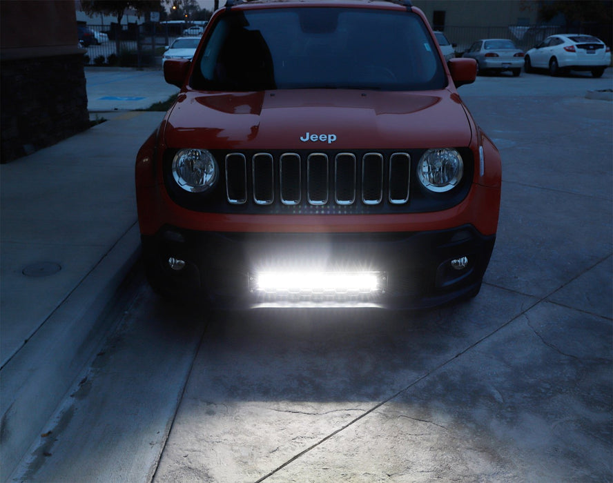 "Behind Lower Grille Mount 20"" LED Light Bar Kit For 2015-up Jeep Renegade, Includes (1) High Power LED Lightbar, Lower Bumper Grill Mounting Brackets & On/Off Switch Wiring Kit-iJDMTOY"