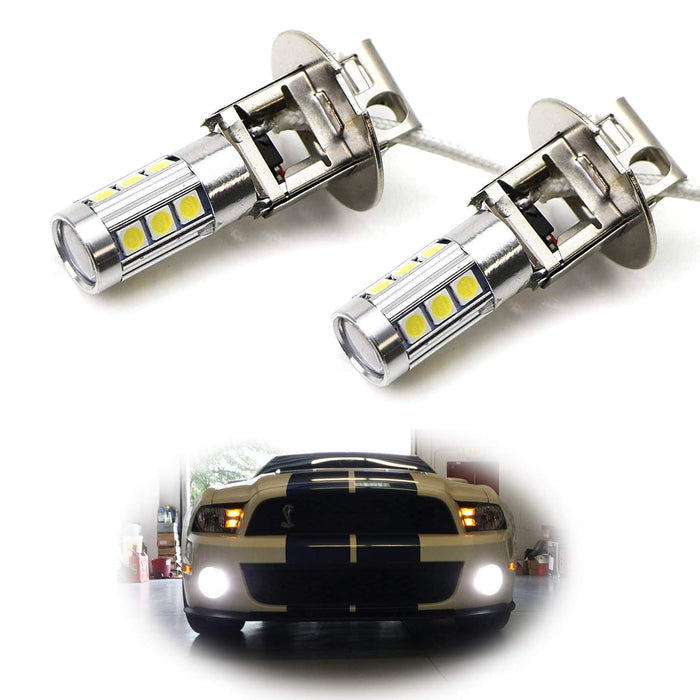 6000K Xenon White High Power 13-SMD-5730 H3 or 880 LED Bulbs For Fog Lights or Driving Lamps-iJDMTOY