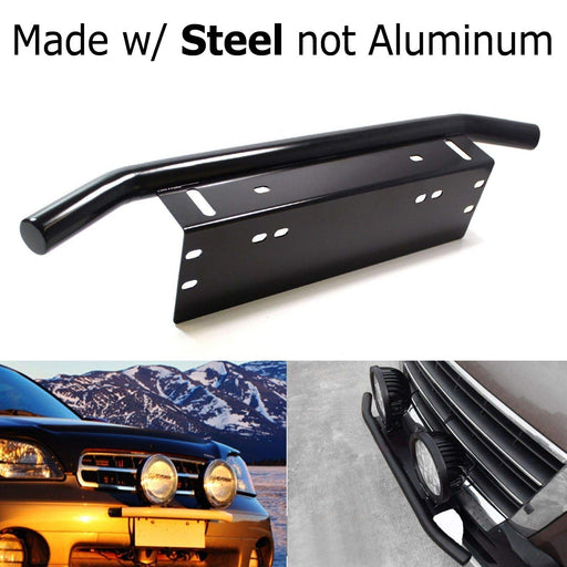 Bull Bar Style Stainless Steel Front Bumper License Plate Mount Bracket Holder For Off-Road Lights, LED Work Lamps, LED Lighting Bars, etc (Black or Chrome, Universal Fit)-iJDMTOY