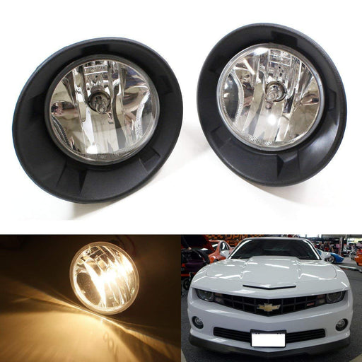 Complete Set Fog Lights Foglamps w/ Halogen Bulbs and Switch For 2010-2013 Chevy Camaro LS LT (For Camaro w/ Halogen Headlamps Trims Only)-iJDMTOY