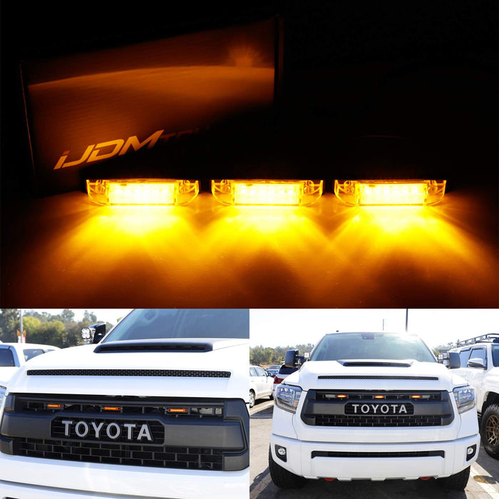 3pc Amber LED Center Grille Running Light Kit For 2014-up Toyota Tundra w/ TRD Pro Grill (Amber Lens w/ Wiring and Hardware)-iJDMTOY
