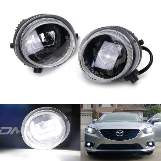Xenon White LED Daytime Running Light Fog Lamps For Mazda 2 3 6 CX-5 CX-7 MX-5 etc, (2) CREE XB-D LED Lights as Fog Lights & (1) 10W DTM Style Halo Ring as DRL-iJDMTOY