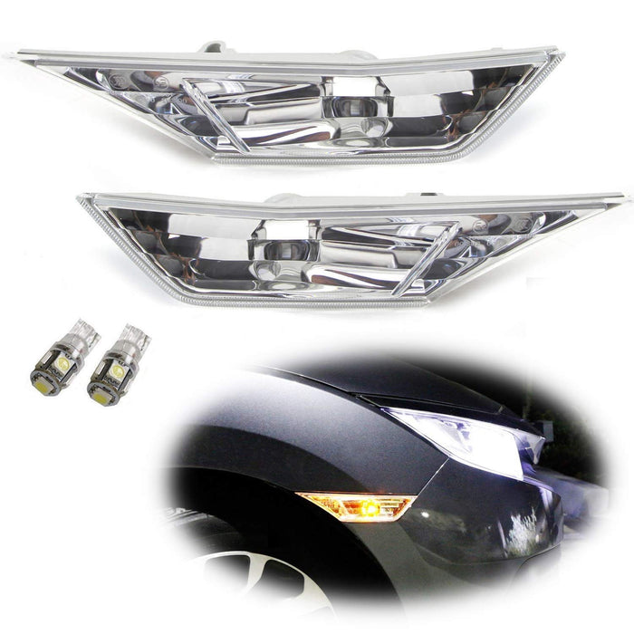 JDM Style Front Side Marker Light Lens Housings For 2016-up Honda Civic Sedan/Coupe/Hatchback, Replace OEM Amber Sidemarker Lamps-iJDMTOY