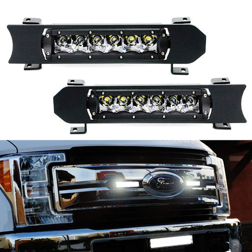 Front Grille LED Light Bar Kit For 2017-up Ford F250 F350 Lariat King Ranch, Includes (2) 30W CREE LED Lightbars, Grill Panel Mounting Bezels/Brackets & On/Off Switch Relay Wirings-iJDMTOY