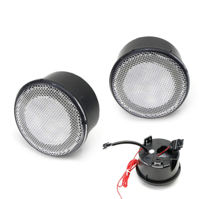 2 Smoked Lens LED DRL Turn Signal Assembly Compatible For 2007-17 Jeep Wrangler White LED Halo Ring as Daytime Running Lights /& Amber LED Center Light as Turn Signals iJDMTOY