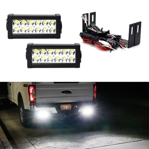 Rear Bumper Mount Searchlight Reverse LED Light Bar Kit For 2011-up Ford F250 F350 F450 Super Duty, (2) 36W High Power LED Lightbars, Bumper Frame Mounting Brackets & On-Off Switch Wiring-iJDMTOY