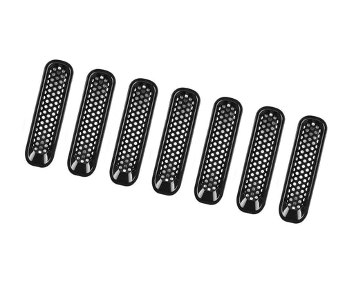 7-Piece Set Black Front Grille Trim Insert Cover Kit For 2007-2017 Jeep Wrangler JK 2-Door 4-Door-iJDMTOY