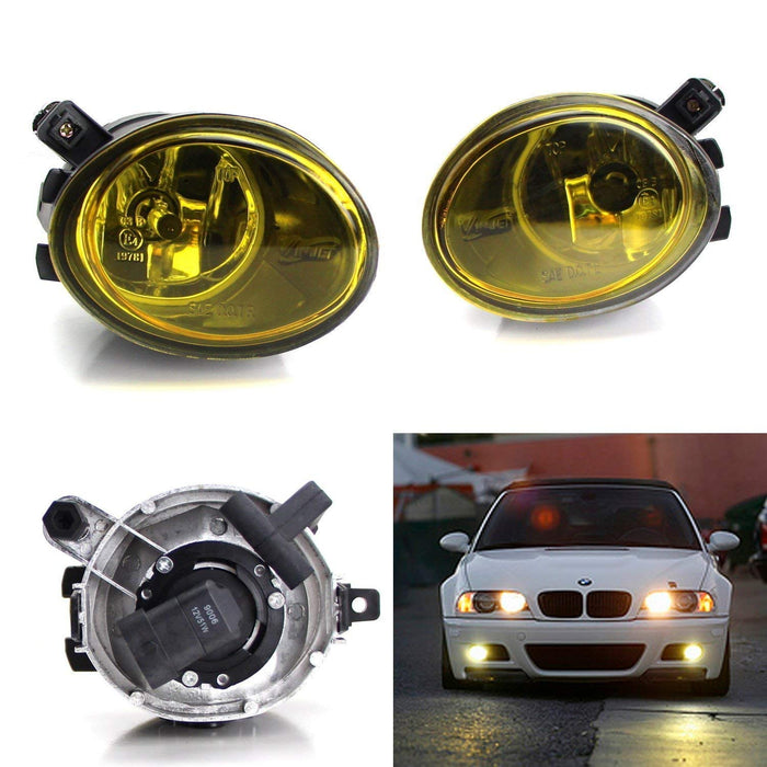 One Pair Clear or Yellow Lens Fog Lights Foglamps w/ Halogen Bulbs For 2001-2005 BMW E46 M3, 3 Series w/ M-Tech Bumper or 1999-2002 BMW E39 M5 (OEM# 63 17 7 894 018, 63 17 7 894 017)-iJDMTOY