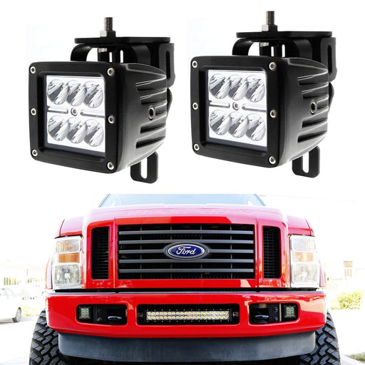 LED Pod Light Fog Lamp Kit For 1999-2016 Ford F250 F350 F450, Includes (2) 24W High Power 2x3 CREE LED Cubes, Foglight Location Mounting Brackets & Wiring/Adapter Harnesses-iJDMTOY