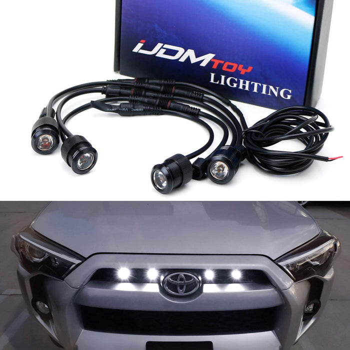 4pc Raptor Style 3W High Power LED Grille Lighting Kit For Toyota FJ Cruiser 4Runner Tacoma etc., 2500K Amber or 6000K Xenon White Projector Lens Spot Beam LED Lights-iJDMTOY