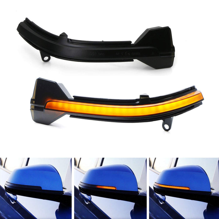 Smoked Lens Dynamic Sequential Blink LED Side Mirror Turn Signal Light Strip Assembly For BMW 5 6 7 Series (F01 F02 F10 F11 F12 F13)-iJDMTOY