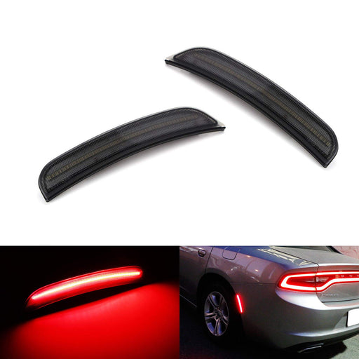 Smoked Lens Red Full LED Rear Side Marker Light Kit For 2015-up Dodge Charger, Powered by 50-SMD LED, Replace OEM Back Sidemarker Lamps-iJDMTOY