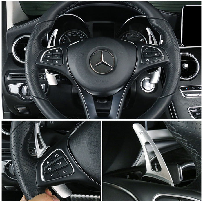 Aluminum Steering Wheel Paddle Shifter Extensions For 2015-up Mercedes Benz W205 C-Class, W213 E-Class, C117 CLA-Class, X205 GLC-Class (Gun Metal Matte, Red, or Silver Finish)-iJDMTOY