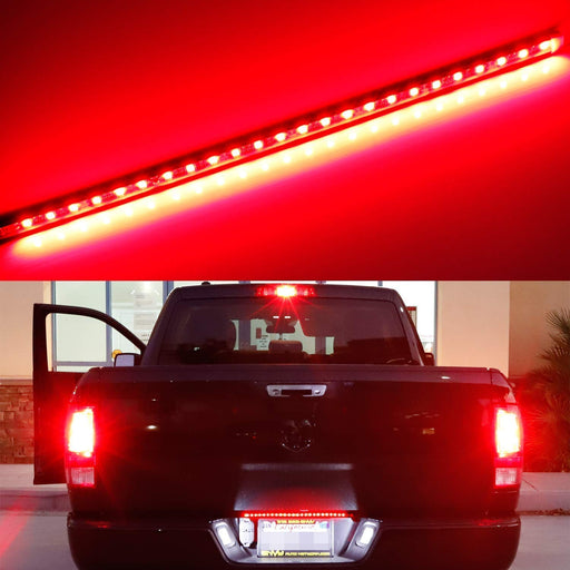 Universal Fit 17-Inch Red LED Tailgate Light Strip For Truck or SUV, Powered By 24-Piece SMD LED Diodes, Flexible Strip w/ Tail Running and Brake Light Feature-iJDMTOY
