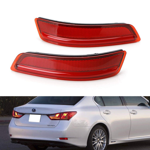 iJDMTOY Red Lens Rear Bumper Reflector Lenses For 2012-2017 Toyota Prius V /& 2014-2016 Scion tC OE-Spec LH RH Assembly