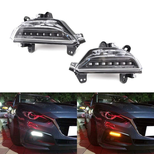 JDM Smoked Lens Revier 3D Switchback LED Daytime Running Lights/Turn Signal Lamps For 2014-2016 Mazda 3 Axela, White/Amber-iJDMTOY