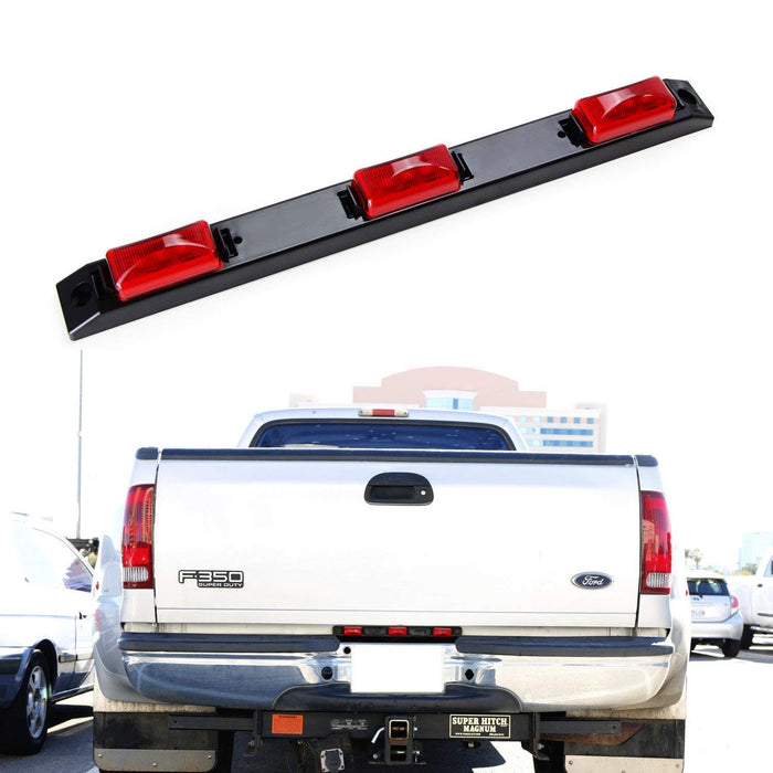 Truck Bed Super Red LED Running Lights For Ford F-Truck Super Duty Dodge RAM Chevy Silverado GMC Sierra Heavy Duty, Center Rear Mount Light Assy Powered by 9 NICHIA Super FLUX LED Emitters-iJDMTOY