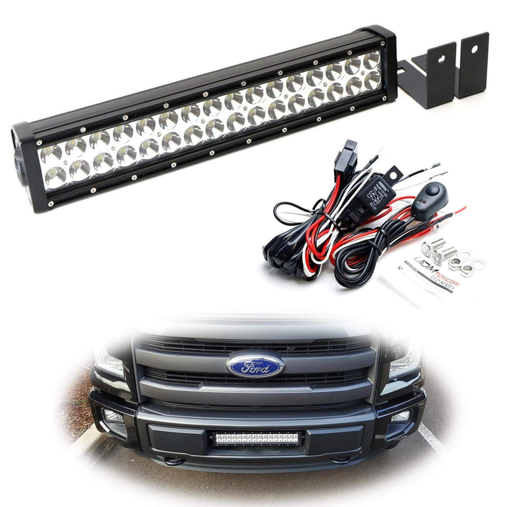 Lower Grille Mount LED Light Bar Kit For 2015-up Ford F150 XLT Lariat and Limited, Includes (1) 96W High Power LED Lightbar, Lower Bumper Opening Mounting Brackets & On/Off Switch Wiring Kit-iJDMTOY